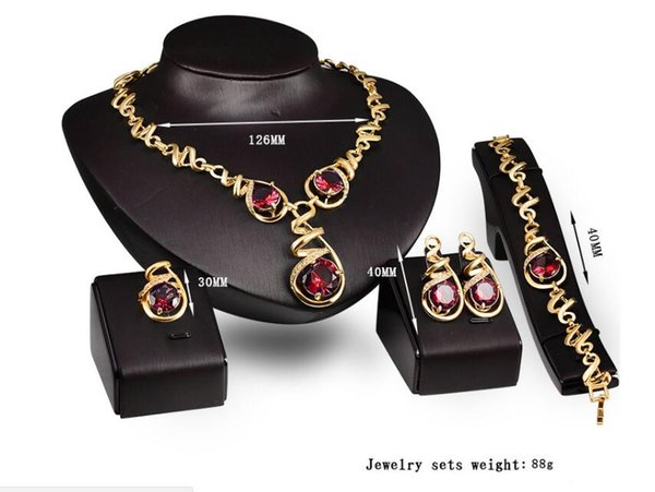 European and American hot ladies banquet necklace jewelry four sets