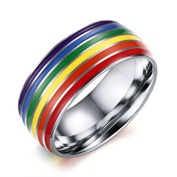 8MM Rainbow Rings Gay Pride Lesbian LGBT Stainless Steel Colorful Rings Couple Band Ring Jewelry for Men Women Wholesale Cheap