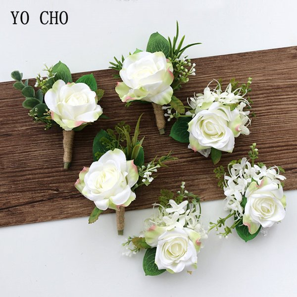 rtificial & Dried Flowers YO CHO Wedding Planner Roses Artificial Silk Flower Wrist Corsage Bracelet Groom Boutonniere White Wedding ...