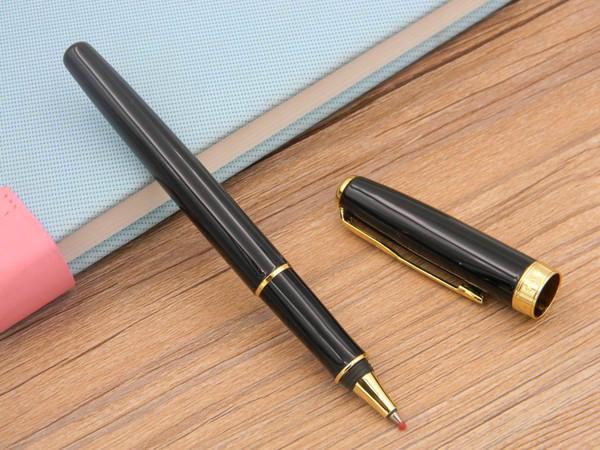 Escrevendo presente Soneto Preto Com Design de Moda Guarnição Dourada Rápido Escrita Rollerball Pen