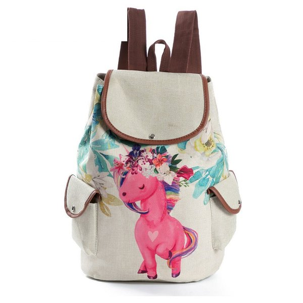good quality Cartoon Animal Printed School Backpack For Teenage Girls Drawstring Linen Design Backpack Female Travel Rucksack