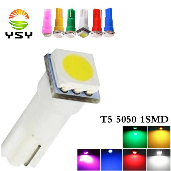 wholesale 100pcs Car Interior Light LED T5 1 SMD 5050 Dashboard Wedge leds t5 Car Light Bulbs Lamp Red Blue Green White auto 12V