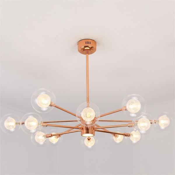 Moderne luxus rose gold glaskugel pendelleuchte nordic kupfer farbe innenleuchten lamparas für esszimmer wohnzimmer