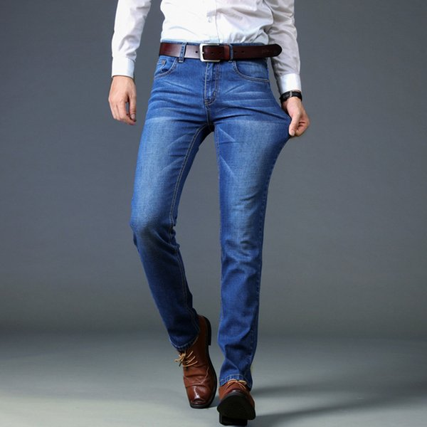Jeans Slim Fit Mid Waist Free Ironing Straight Pants Elastic Men's Trousers