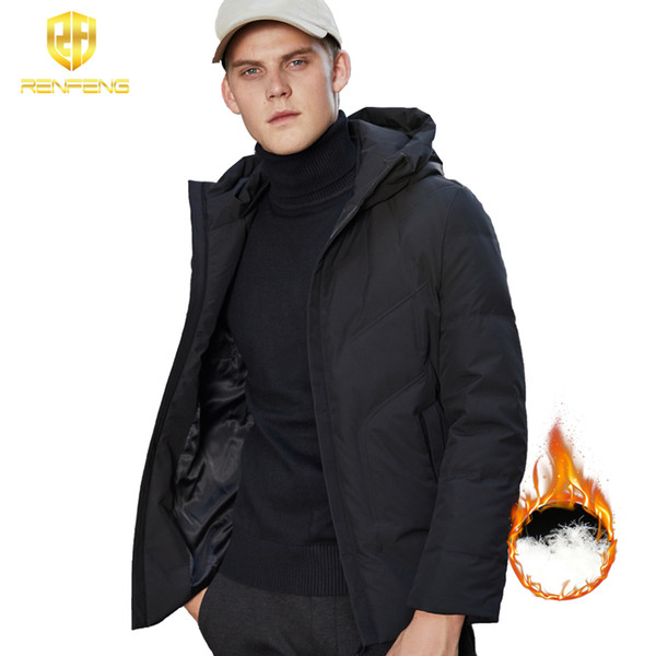 2018 Winter 95% White Duck Down Jacket Men Medium Long Coat Warm Parkas Thick Homme Warm Clothes Man Hoodies collar High Quality