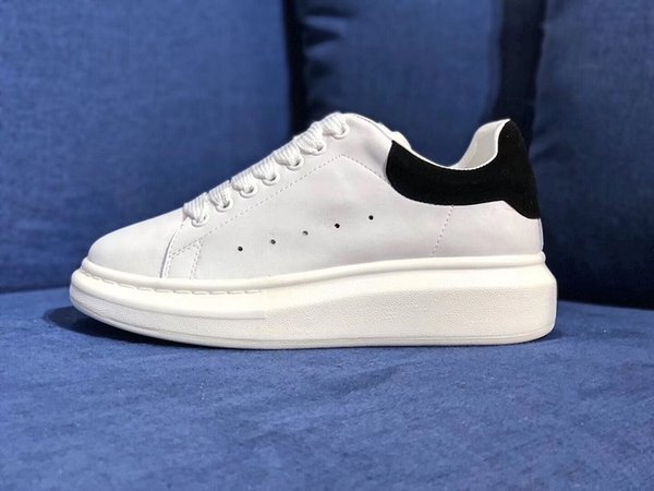 2019 Designer Luxury white leather casual shoes Brand for girl women men black gold red fashion comfortable flat sneakers size 35-44