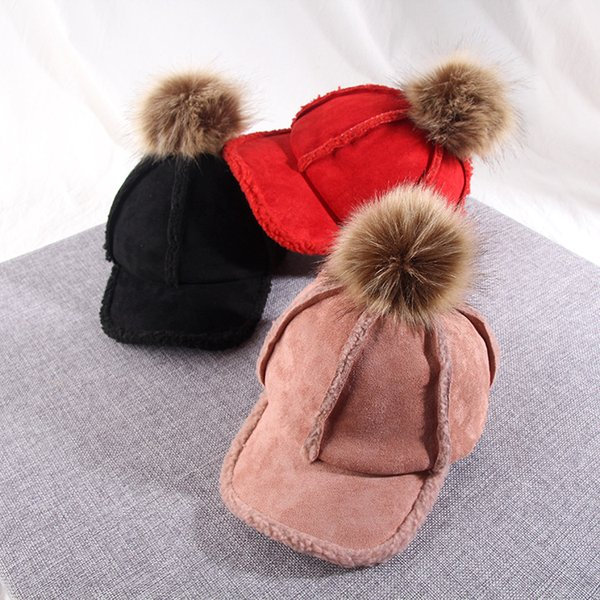 children faux suede cap autumn splicing lamb flocking heavy hair ball baseball pure color and warm hat zp3120