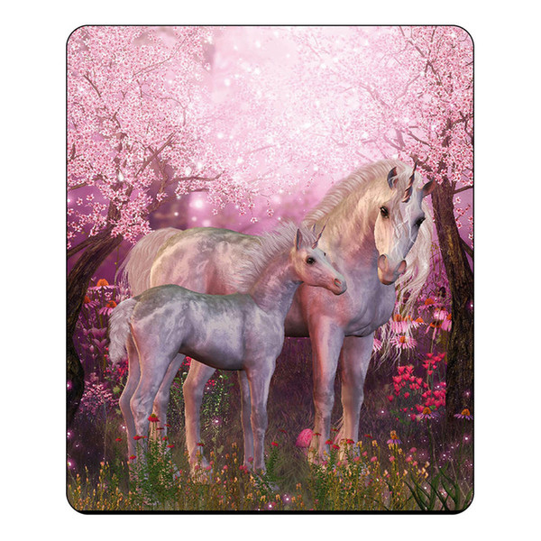 3D Einhorn im Pink Forest Blanket Design Decken Flanell Fleece Soft Plaid Print Decke Bett / Sofa Wirft Mode 150 * 200cm