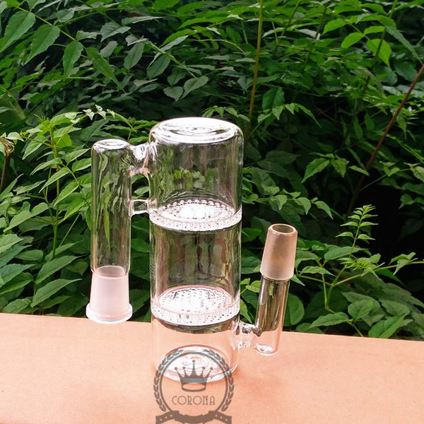 Glass Ash Catcher recycler three honeycomb perc ashcatcher 14mm 18mm Female Male adapter for glass water bong and water pipe bong