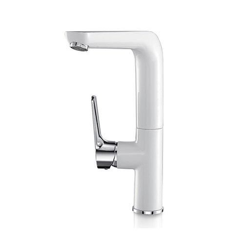 White & chrome elegance kitchen sink faucet single hole deck mount quality brass rotation white hot and cold water mixer