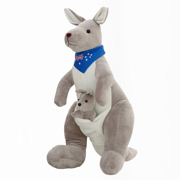 35/50 cm australiano canguru Boneca de Pelúcia Macia Stuffed Animal Dos Desenhos Animados Brinquedo Bonito Presente de Natal de Aniversário para Crianças Brinquedos Infantis