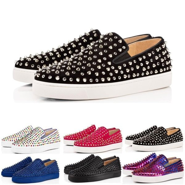 d786c38f18d 2019 Wholesale Designer Luxury Fashion Brand Red Bottom Studded Spikes  Flats Shoes For Men Women Black Glitter Cheap Party Lovers Casual Sneakers  From ...