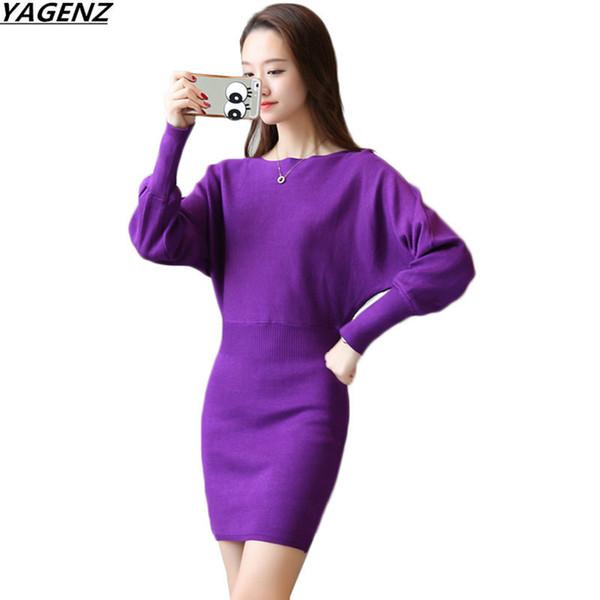 Yagenz Spring Autumn Women's Dresses New Fashion Knit Sweater Dress Bat Sleeve Slim Sexy Package Hip Dress Women Clothing K777 Y190410
