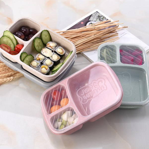 best selling 3 Grid Wheat Straw Lunch Box Microwave Bento Box Quality Health Natural Student Portable Food Storage Box Tableware