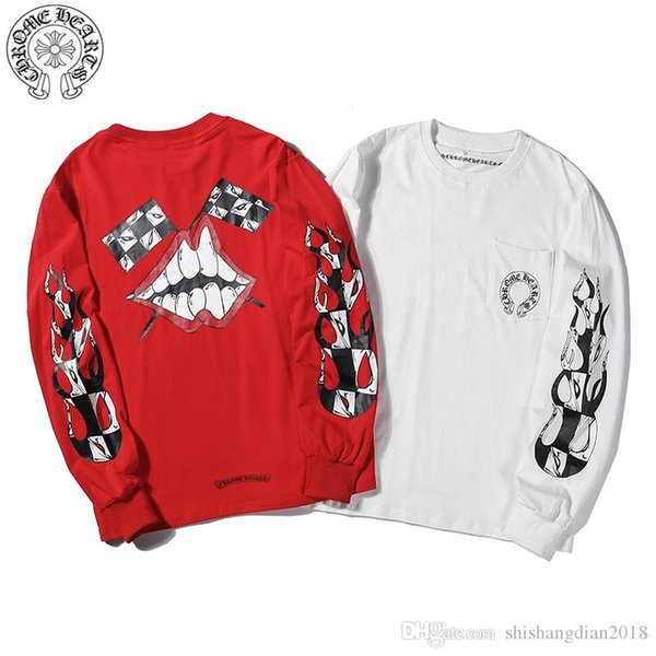 2019 early autumn thin long sleeves, multi-color printed, red, white, men and women, cotton hooded sweater
