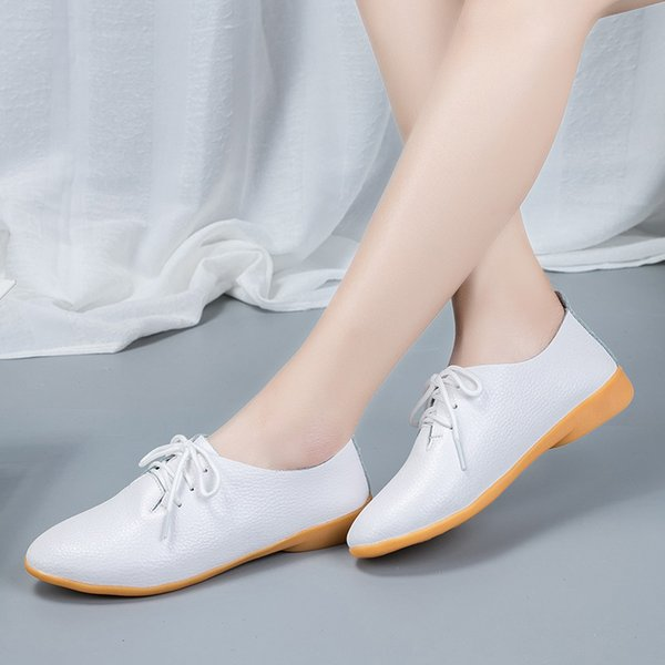 2019 New Spring Women Flats Shoes Genuine Leather Women Oxford Shoes Lace Up Moccasins Loafers Slip On Ballerina Ballet