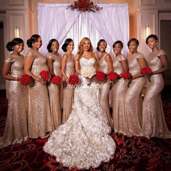 Rose Gold Mermaid Bridesmaid Dresses Backless Sweep Train Sequined African Garden Country Plus Size Wedding Guest Gowns Maid Of Honor Dress