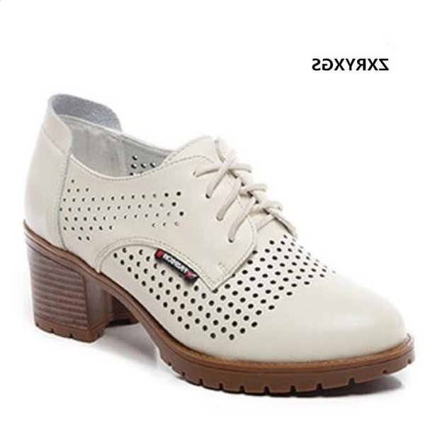 Cheap Shoes 2019 New Lace-up Spring Summer Hollow Genuine Leather Woman Sandals Fashion Soft Bottom Non-slip Women High Heels