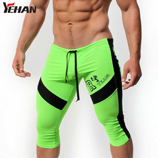 Shorts Men High Stretchy Knee Length Gym Shorts Low Waist Running Jogger Compression Patchwork Bermuda Masculina