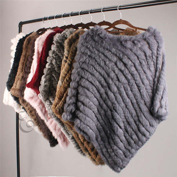 Ethel Anderson Real Fur Knitted Rabbit Fur Poncho Vest Vest Fashion Wrap Coat Vtg Shawl Lady Natural Fur Wedding Party Wholesale T3190614