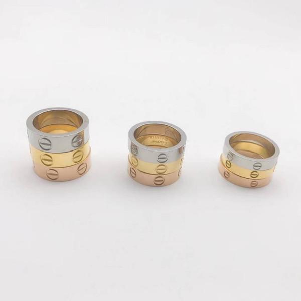 L'amante di marca di nozze d'acciaio di titanio ha impresso l'anello della fascia del marchio per le donne Anelli di fidanzamento degli anelli di fidanzamento degli anelli di fidanzamento di lusso della CZ Zirconia degli uomini