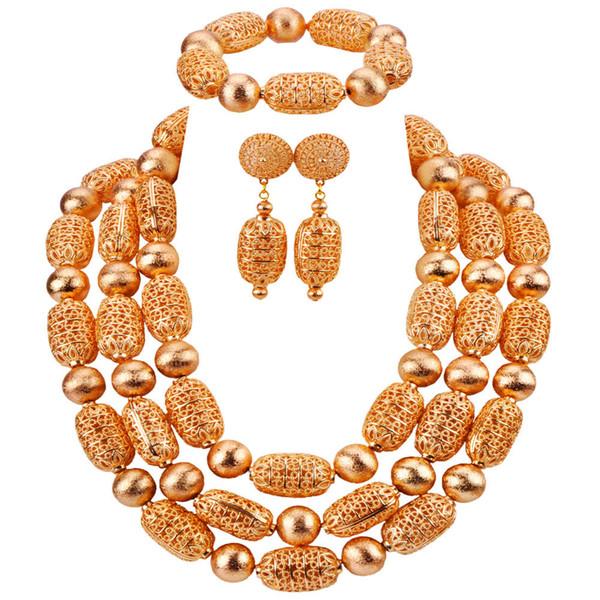 Новая Мода Нигерийские Традиционные Свадебные Ожерелья Золотые Свадебные Комплекты Ювелирных Изделий Африканские Бусы Комплект Ювелирных Изделий CBS54