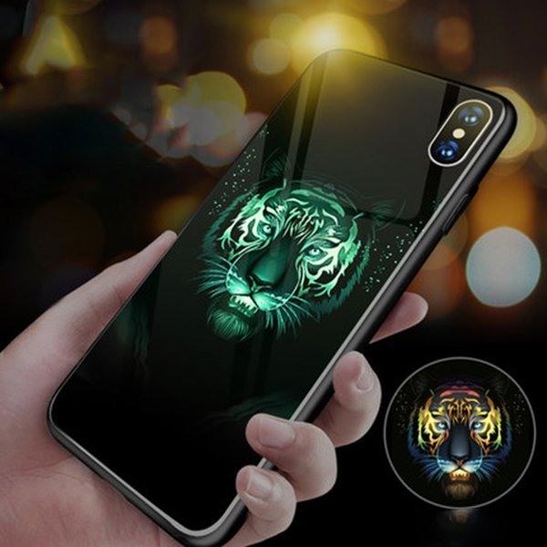 Wolf Lion Ghost Luminous Glass Phone Case For Apple iPhone XSmax XR XS X 8 7 6 6s 5 s SE Plus Luxury Silicone Cover Coque