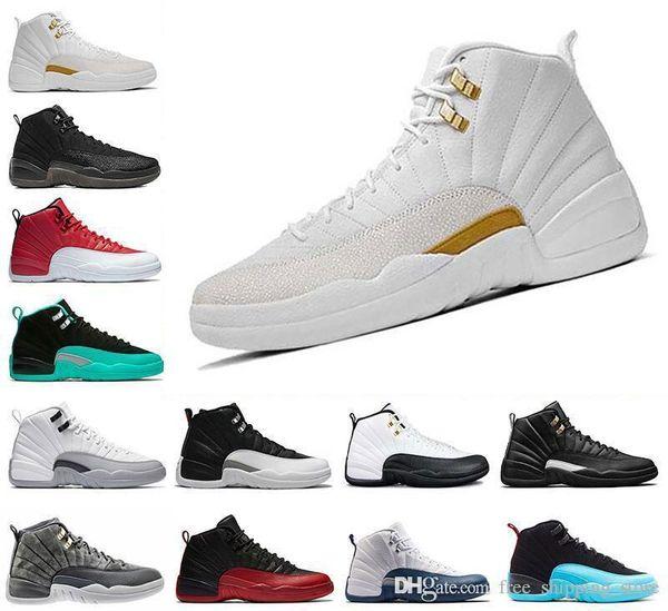 scarpe da basket lana 12 12s Bordeaux Dark Grey bianco Influenza gioco UNC Palestra rosso in taxi gamma francese blu dimensioni camoscio scarpe da ginnastica Sport 8-13