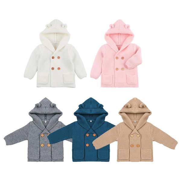 irl suéteres para niños Baby Girl Knitting Cardigan Color sólido Otoño Invierno Suéteres para niños Abrigo con capucha de manga larga Outwear Niños Cl ...