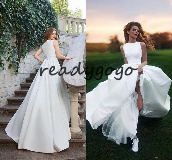 Elegant Jewel Sleeveless White Satin Wedding Dresses 2019 Customized Simple Ivory Robe de Mariage Bohemian Bridal Gown Plus Size