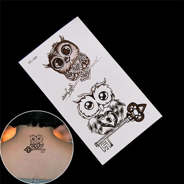 2018 NEW Cute Owl Pattern Temporary Tattoo Sticker Waterproof Decals Fake tatoo Art Taty Women's Tattoo Sticker D19011202
