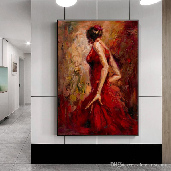 vA. Modern Abstract Wall Art High Quality Handpainted Abstract Art Oil Painting Dancing Girl in Red Dress On Canvas Home Decorative p123