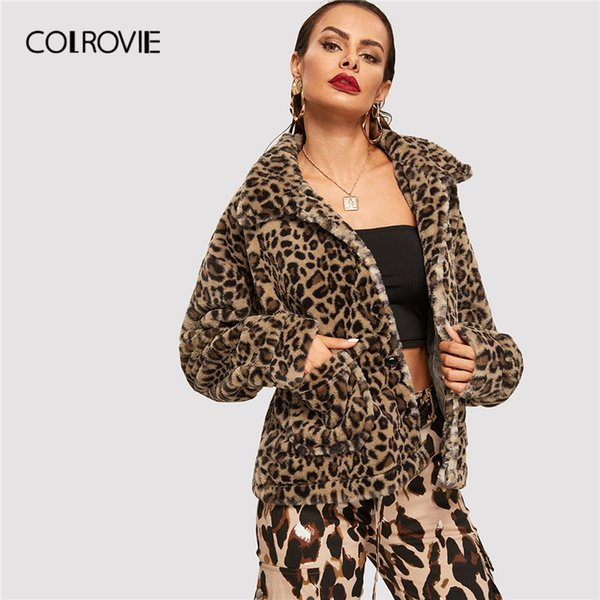 COLROVIE Leopard Print Inverno caldo Teddy Jacket Coat 2019 Streetwear Moda Pocket Ladies Cappotti Femminile Korean Capispalla Cappotto