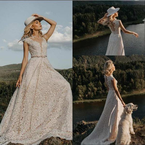 Bohemian Wedding Dresses Jewel Neck A Line Appliqued Cap Sleeves Boho Wedding Dress Sweep Train Lace Cheap Vestidos De Novia