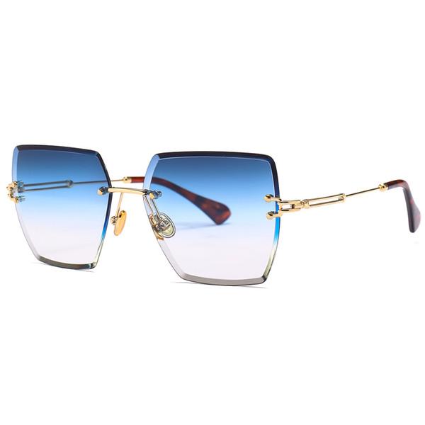 klare linse sonnenbrille für frauen platz randlose diamant schneiden linse marke designer fashion shades sonnenbrille mit box fml