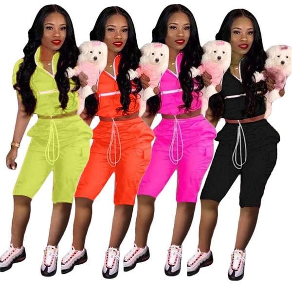 Las mujeres remiendo chándal camiseta Top + Shorts Outfit 2 unids Set verano cremallera chaqueta de corte cordón exterior gimnasio deportes gimnasio traje S-XXL A41506
