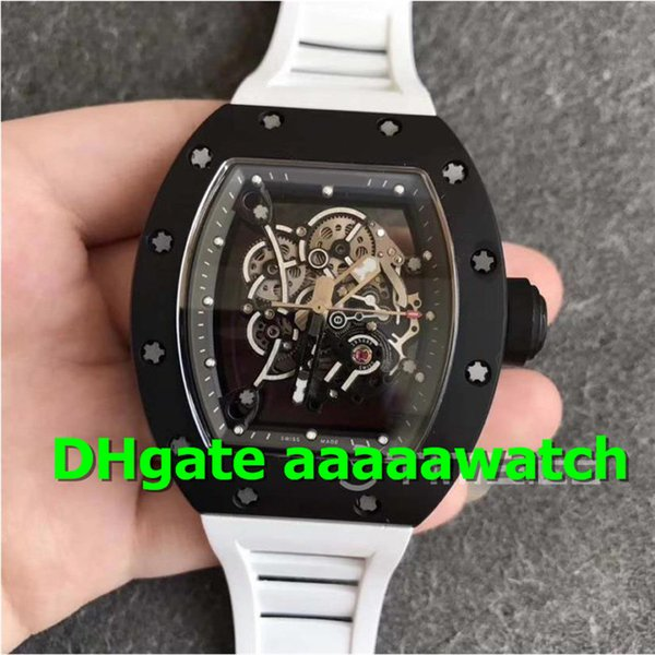 KVF Luxury Men Watch 055 Real Ceramic Case Bubba Watson Asian Limited Edt Skeleton Dial Grey Inner Bezel Rubber Strap MIYOT A8215 Automatic