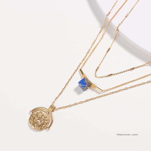 Collar de varios pisos Collar de oro de 18 k Bloque azul Piedra natural Moneda de Roma antigua Corte de Pendeloque