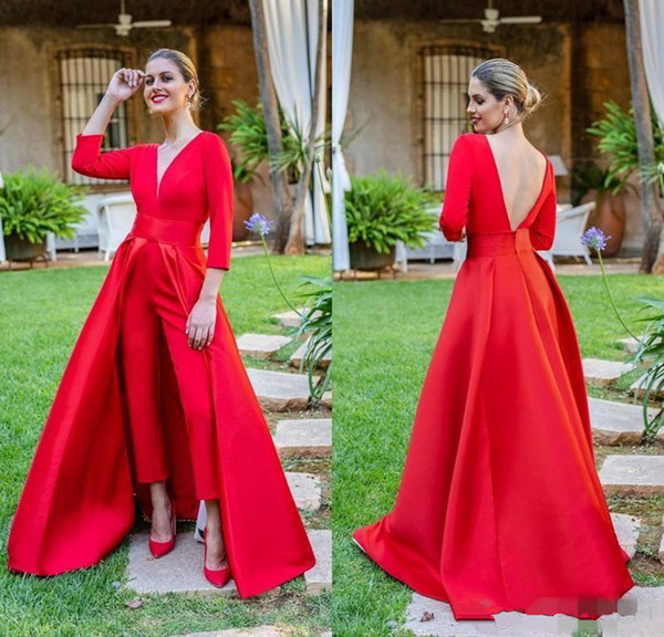 best selling 2019 New Red Jumpsuits Prom Dresses 3 4 Long Sleeves V Neck Formal Evening Party Gowns Cheap Special Occasion Pants PD60