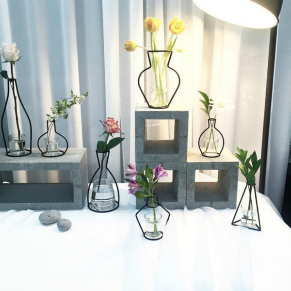 Inicio Decoración de fiesta Florero Líneas negras abstractas Florero de hierro abstracto minimalista Florero seco Bastidores Adornos de flores nórdicos