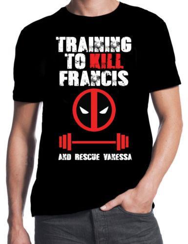 Deadpool Training To Kill Fra Wholesale Save Vanessa Gym Weights Workout Black T-Shirt T Shirt For Men Crazy Short Sleeve Crewneck Cotton Pl