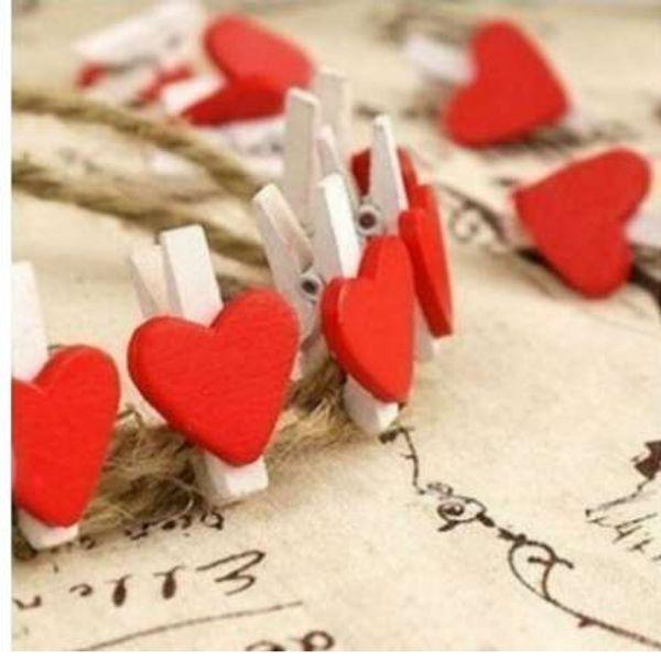 12pcs/bag Mini Heart Love Wooden Clothes Photo Paper Peg Pin Clothespin Craft Food Postcard Clips Home Crafts Decoration