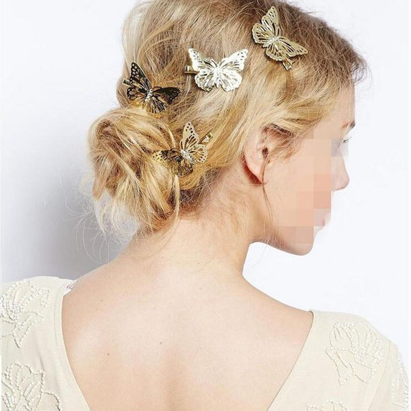 Hot Sale Fashion Women Shiny Golden Butterfly Hair Clip Headband Hairpin Accessory Headpiece