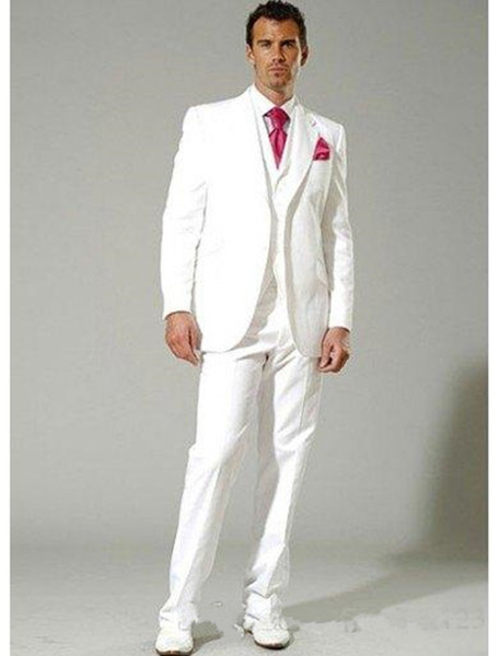 New High Quality Two Buttons White Groom Tuxedos Notch Lapel Groomsmen Best Man Suits Mens Wedding Suits (Jacket+Pants+Vest+Tie) 703