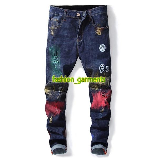 Brand New Fashion Jeans Herren Straight Jeans Herren Bestickt Loch Jeans Designer Hochwertige Hosen Persönlichkeit Flut Herren Hosen
