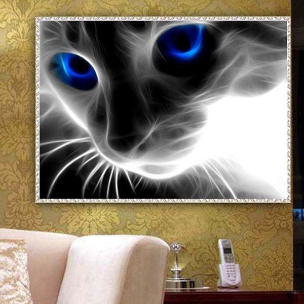 YGS-541 DIY Full 5D Diamond Embroider The Cute Cat Round Diamond Painting Cross Stitch Kits Diamond Mosaic home Decoration