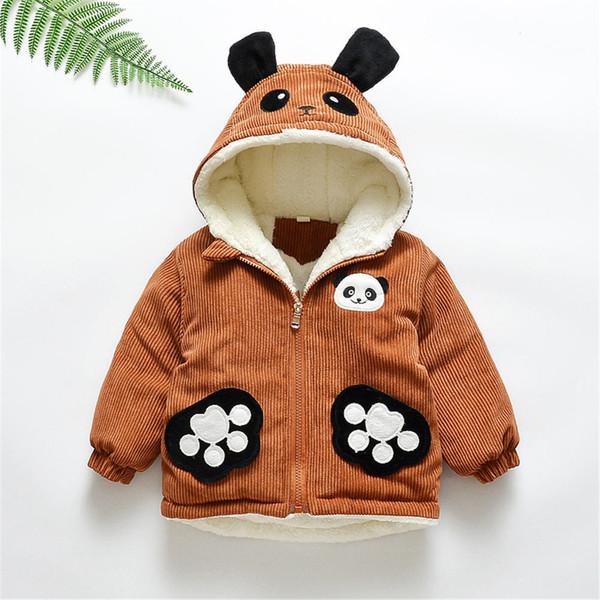 Bebek Giysileri Uzun Kollu Hoodie Kış Sıcak Giysiler Ceket Toddler Erkek Bebek Kız Karikatür Baskı Sevimli Sıcak Panda Kalın Coat