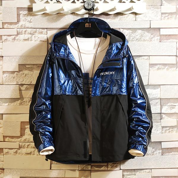 Hooded Jacket Men Fashion Coat 2019 Spring Autumn Hip Hop Jackets Male Streetwear Casual Glossy Patchwork Jacket Coat
