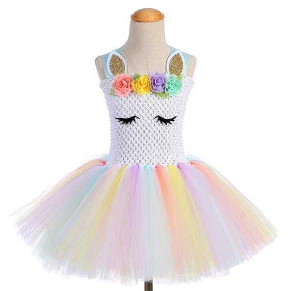 vendita calda unicorno partito ragazze tutu vestito da ballo costumi abiti da sposa di estate per i bambini vestiti della neonata trasporto libero BY0777