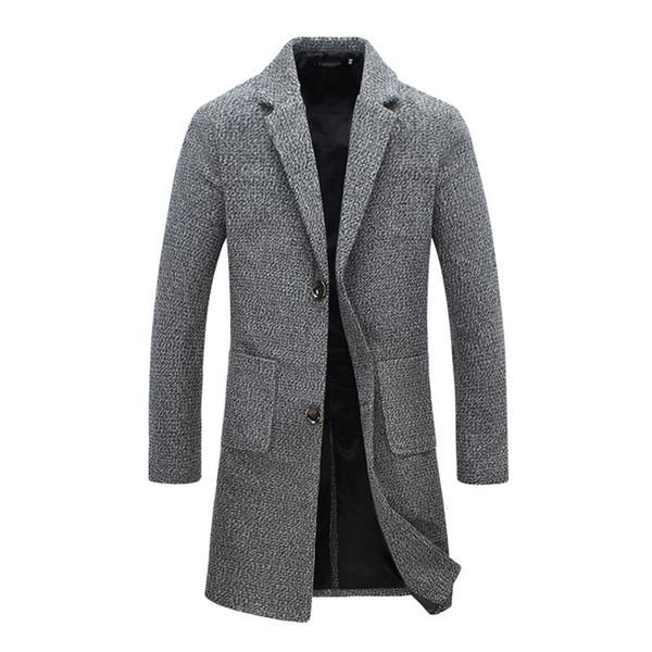2019 Novo Designer de Moda Longo Mens Casaco Mens Trench Coat Outono Inverno À Prova de Vento Trench Slim Men Plus Size Jm6